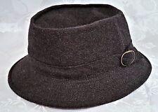 VINTAGE LONDON PARIS WOOL BLEND BLACK WOMEN'S BUCKET FEDORA HAT-US 6 7/8 ;EU 55