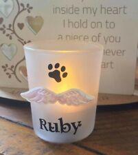 personalised frosted glass tealight holder pet dog/cat rainbow bridge