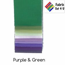 "20 x 2.5"" Purple Green Jelly Roll PreCut Fabric Strips, 2.5 inch x WOF, Die Cut"