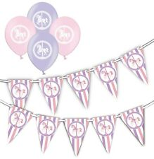Horse Carousel - pink & lilac  bunting &  pink & lilac Asst  balloons pack of 6
