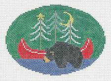 Black Bear & Canoe Oval Ornament handpainted Needlepoint Canvas Kathy Schenkel