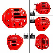 New Model Worldwide Travel Adapter -USA/UK/EU/AUS, pouch, safety shutter, 2 fuse