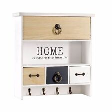 Wooden Key Rack with Shelf Drawer Small Storage Cabinet Entryway Hanging Unit pc