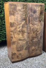 SUPERB WALNUT  LARGE ART DECO 2 DOOR WARDROBE AMAZING VENEERS