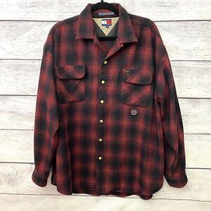 Vintage 90s Tommy Hilfiger Men's Wool Button UP Logo Shirt Red Plaid Flannel XL