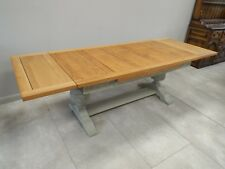 Large Extending Solid Oak Painted Shabby Chic Refectory Dining Table ref43434