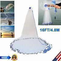 Hand Cast Fishing Net Trap Spin Network Easy Throw Bait Nylon Mesh Dia 16ft/4.8m