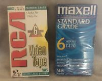 NEW Lot of 2 VHS T120 RCA Premium Grade Maxell Standard Grade 6 Hour Video Tapes