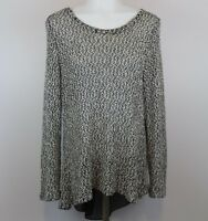 Janeric Women's Top Size Large Long Sleeve Knit Top Black White