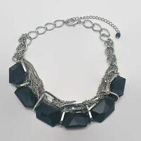 Silver Tone Chunky Black Glass Bead Necklace