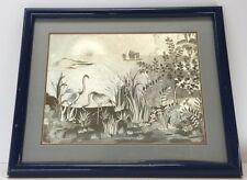Vintage Silver Leaf Foil Art Birds 1970s Mid Century Modern Rare Retro Framed
