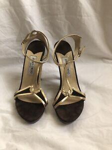 Jimmy Choo Brown Gold Leather Strappy Sandals  Wood Block Heel Eur39 Uk6