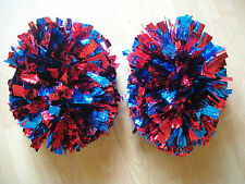 Child Adult Football Basketball Halloween Cheerleader 2 PomPoms Red& Blue(pair)