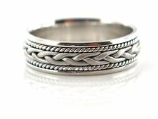 14K WHITE GOLD MEN'S HAND MADE BRAIDED WEDDING BAND 6.5 MM SIZE 10 COMFORT FIT