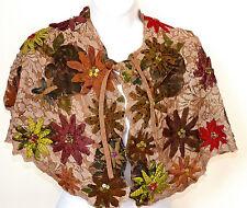 Etnika Designer Brown Floral Applique Silk Mix & Beaded Cape Style Scarf Shawl
