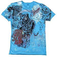 Amplified SAINT&SINNER REAPER Sensenmann Skull Rock Star Strass T-Shirt g.S/M