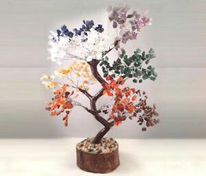 Positive Energy Heal Geode Reiki Decor7 Chakra Stone Tree Life Natural Gemstone