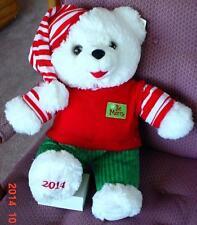 """2014 WalMART CHRISTMAS Snowflake TEDDY BEAR White Boy 20""""White/Red Outfit NWT."""