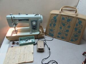 Vintage MCM Sewing Machine Brother Project 181 Robin Egg Blue Floral Case Pedal