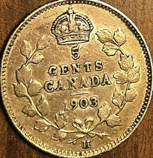 1903H CANADA SILVER 5 CENTS COIN - Large H - Nicer example!