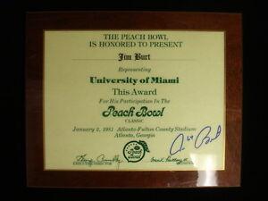 Jim Burt U. Miami 1981 Peach Bowl Award Plaque – Autographed – EX-NM