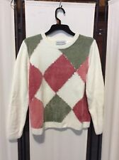 Alfred Dunner Petite Women's Pastel Embroidered Crew Neck Sweater Size PL EUC