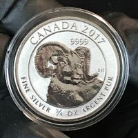2017 Canada Big Horn Sheep 2 Dollars 3/4 Oz .9999 Silver ASW Crown Gem BU #1