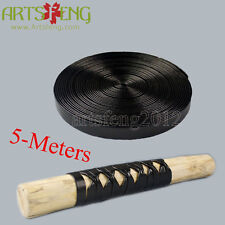 STC001 5METERS BRAID SAGEO TSUKA ITO FOR HILTS BLACK MANMADE LEATHER WRAP