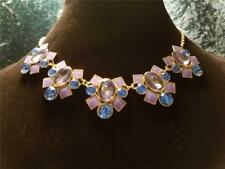 Monet Bib Necklace Gold Tone Chain With 5 Light Blue & Periwinkle Stone Clusters