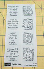 Stampin Up Quick & Cute Stamp Set of 8 Unmounted 2002 Birthday Notes Moon Heart