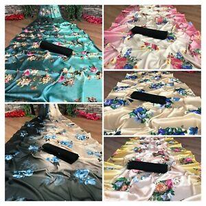 Bollywood designer satin silk saree pakistani party wear fancy indian white sari