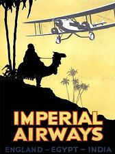 TRAVEL RETRO ADVERT IMPERIAL AIRWAYS UK EGYPT INDIA ARAB CAMEL PRINT LV4439