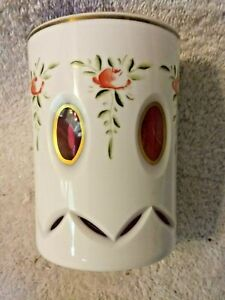 Bohemian Moser White Enameled Overlay Cut to Cranberry Tumbler Cup With Roses