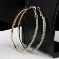 Round Hoop 6CM Dangle Earring Jewelry Women Crystal Diamante Rhinestone Large