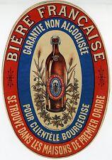 """""""Bière Française garantie non alcoolisée"""" Etiquette-chromo originale fin 1800"""