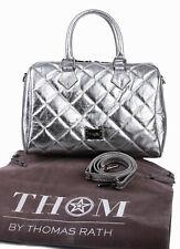 THOM by Thomas Rath Bowling Bag Designer Henkeltasche echt Leder Steppung silber