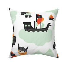 Viking Scandinavian Boys Mint Throw Pillow Cover w Optional Insert by Roostery