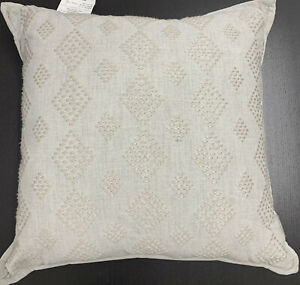 """Hotel Collection Hotel Luxe Grey Diamond Embroidered Decorative 18"""" X 18"""" Pillow"""