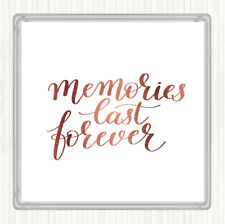 Rose Gold Memories Last Forever Quote Drinks Mat Coaster