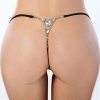 Women Sexy Rhinestone G String Underwear Toy Thongs T Back Panty Briefs Lingerie
