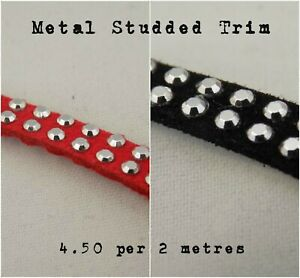 5mm Studded Diamante Silver Metal Strap - Handle Belt Dress Metallic Trim