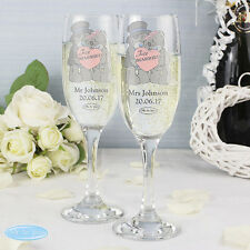 Personalised Me To You Bride and Groom Toasting Champagne Flutes Glasses - Boxed