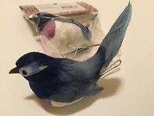 New Set Of 2! Blue Plum And White Artificial Birds For Crafts / Floral 3 1/2""