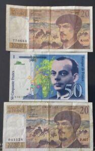 Lot de 3 Billets, 2 x 20 Francs Debussy et 1 X 50 Franc Saint Exupéry