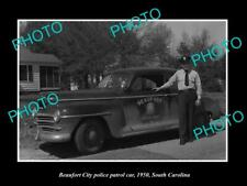 OLD POSTCARD SIZE PHOTO OF BEAUFORT SOUTH CAROLINA THE TOWN POLICE CAR c1950