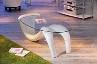 Table basse de salon d´appoint oval design moderne verre securit pied BLANC
