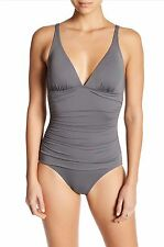 Tommy Bahama Sz 6 Ruched Triangle Cave Gray One Piece Bathing Swim Suit New