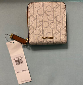 CALVIN KLEIN Monogram Zip-Around Small Wallet, New!