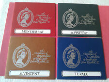 4 Souvenir Folders of Queen Elizabeth Ii 25th Silver Anniv 1978 + Mint Stamps