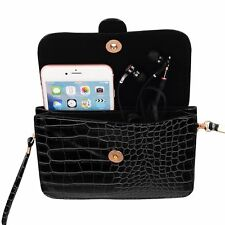 Black Horizontal Leather Phone Case Bag Crossbody Purse for iPhone 7 Plus/8 Plus